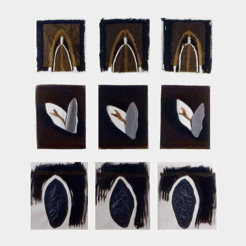 Les 3 arches, les 3 arbres, les 3 pierres - 1987 – Pigment, cire, sur papier. 250 x 400 cm. Collection particulière.