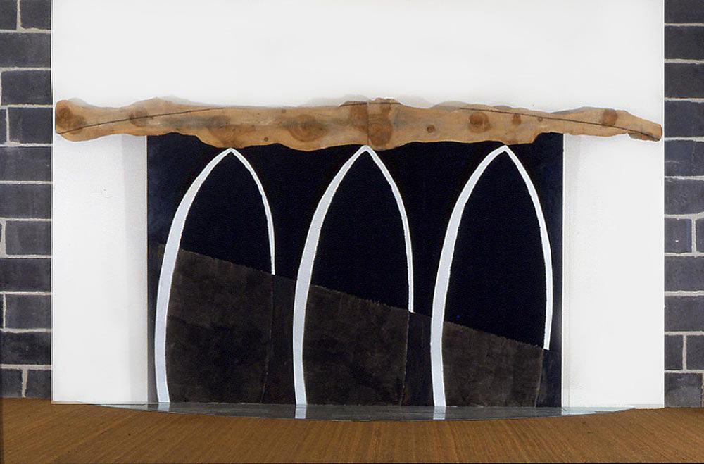 L'arbre au dessus de l'eau - 1987 - Huile, lavis, sur papier marouflé sur bois, écorce, verre. 250 x 400 cm. @ Denis Falgoux.