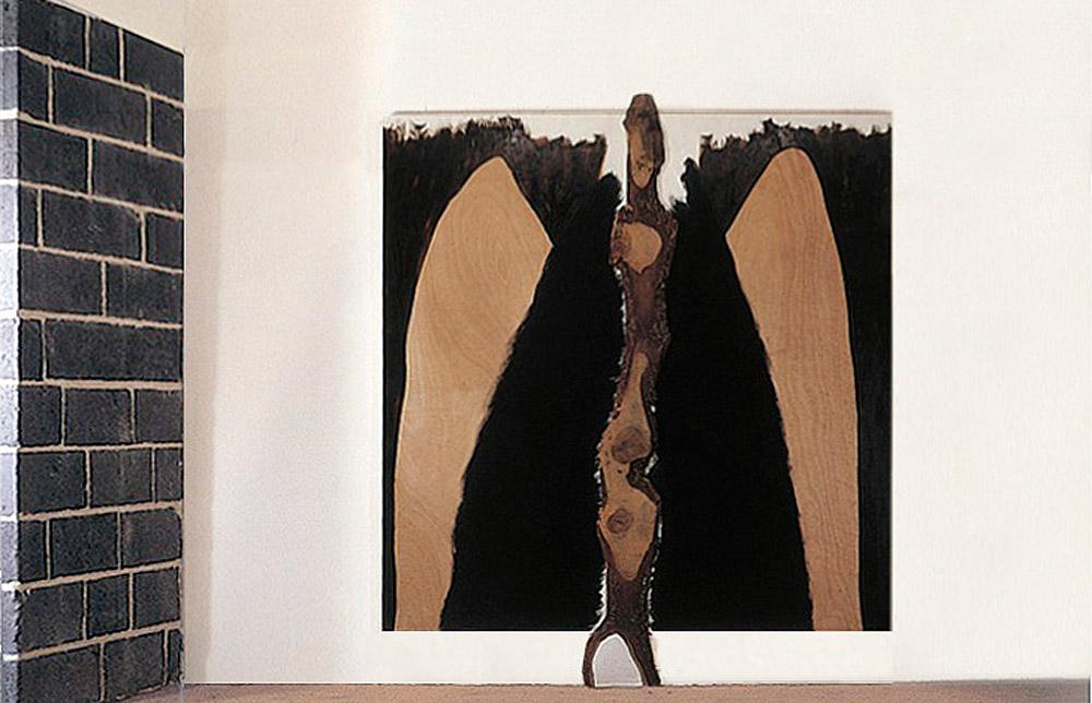 Le passage sous les montagnes - 1987 - Huile, fusain, sur papier marouflé sur bois, écorce. 330 x 300 cm. Denis Falgoux