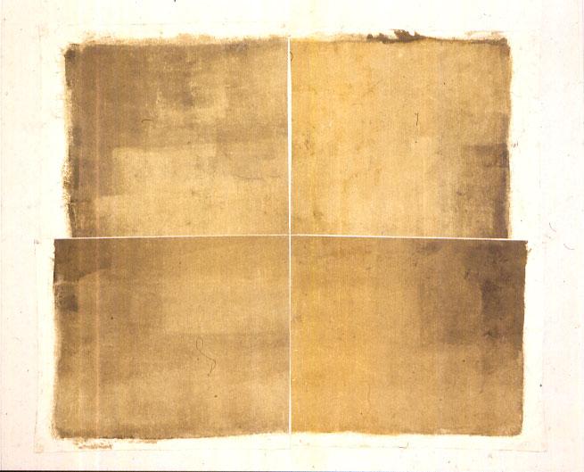 Peinture Coupée – Denis Falgoux – 1999, acrylique, toile, marouflée sur toile, 250 x 250 cm.