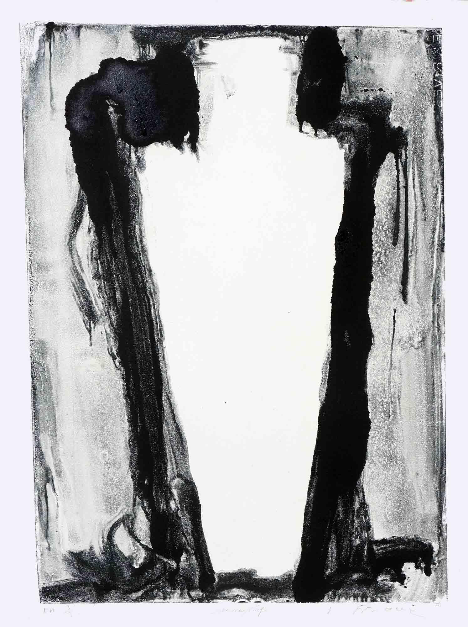 Sarcophage - 1987 – Encre Typographique monotype. 65 x 50 cm. Denis Falgoux.
