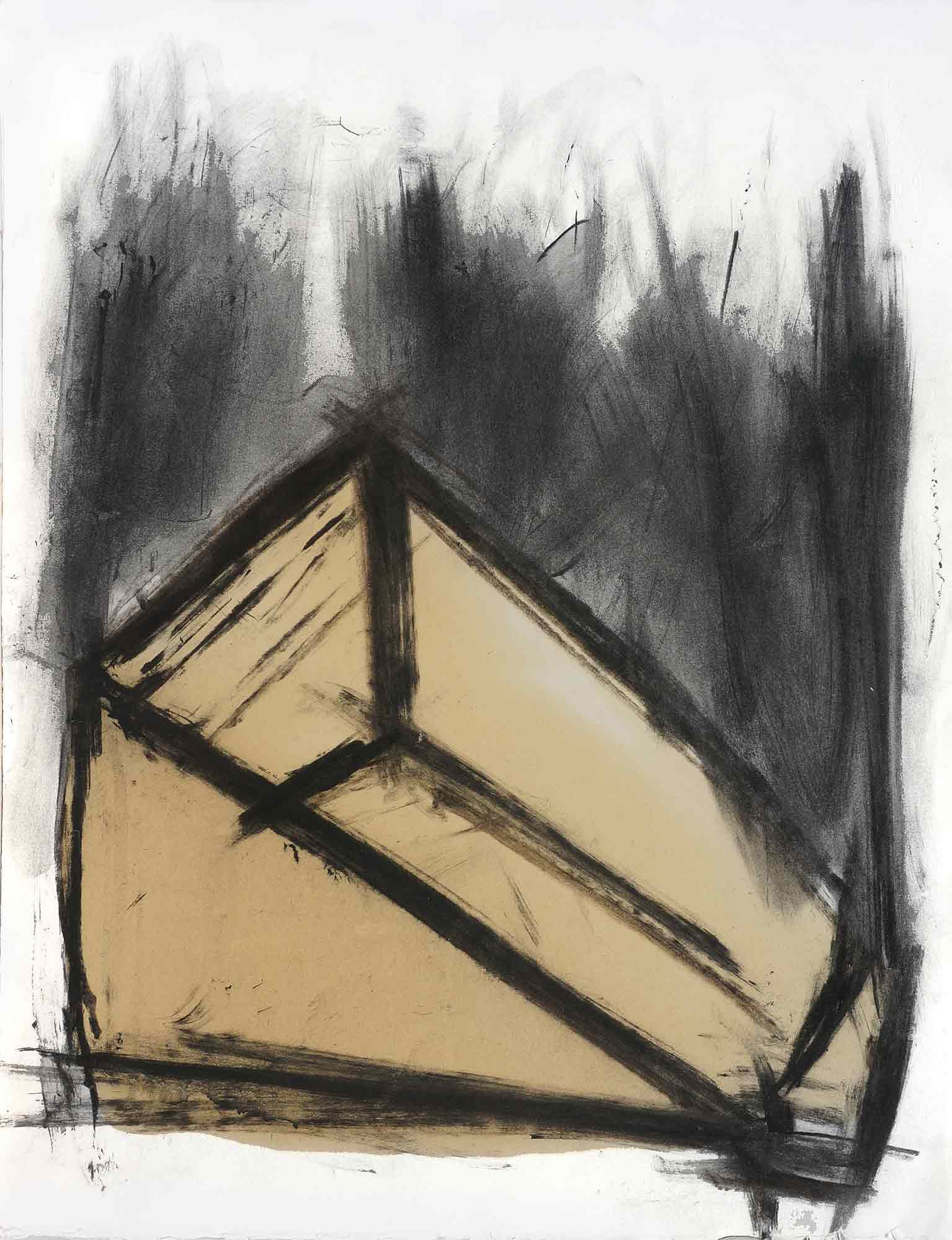 Mangeoire - 1987 – Fusain, gomme laque. 65 x 50 cm. Denis Falgoux.