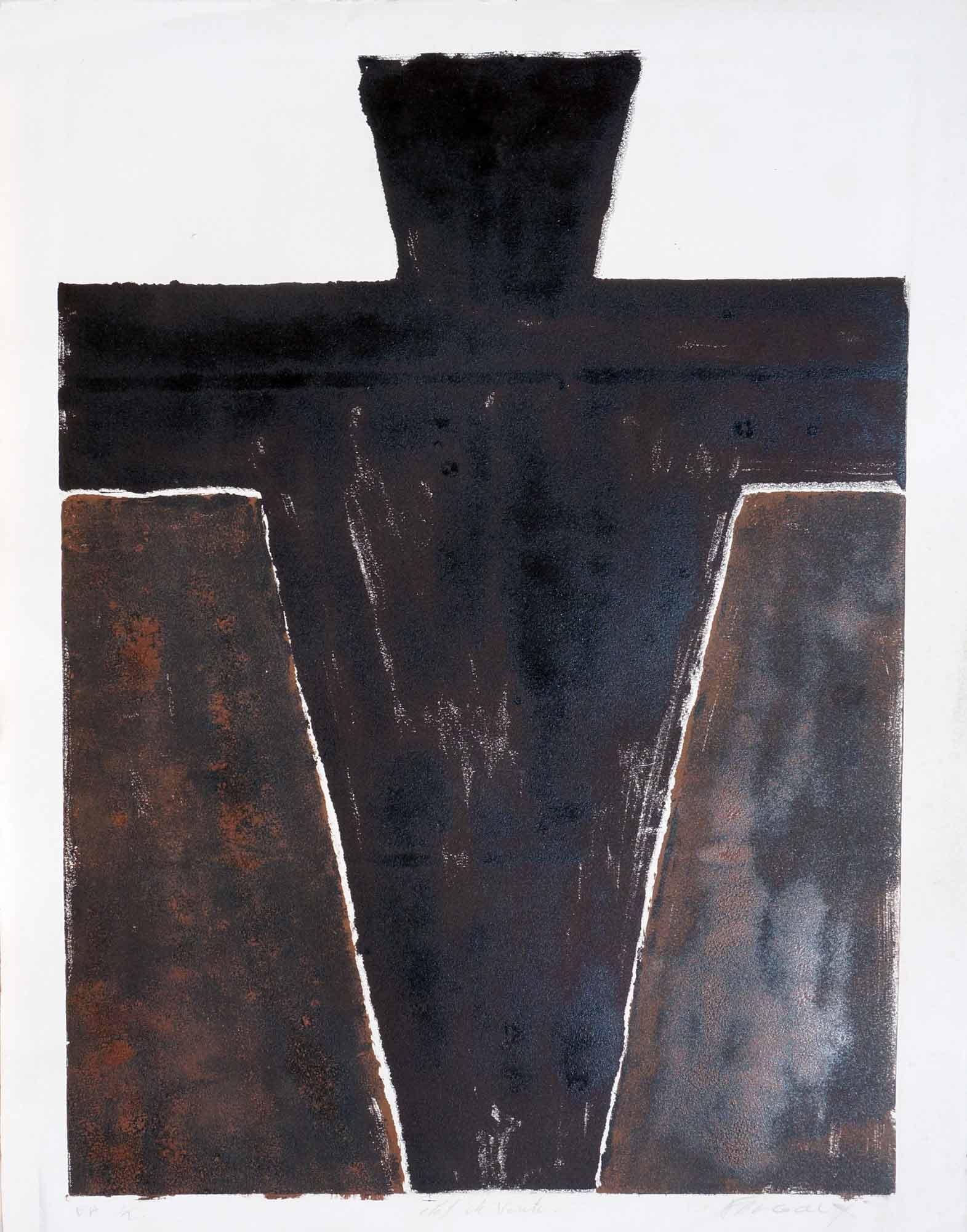 Sarcophage - 1987 – Encre Typographique, monotype. 65 x 50 cm. Denis Falgoux.