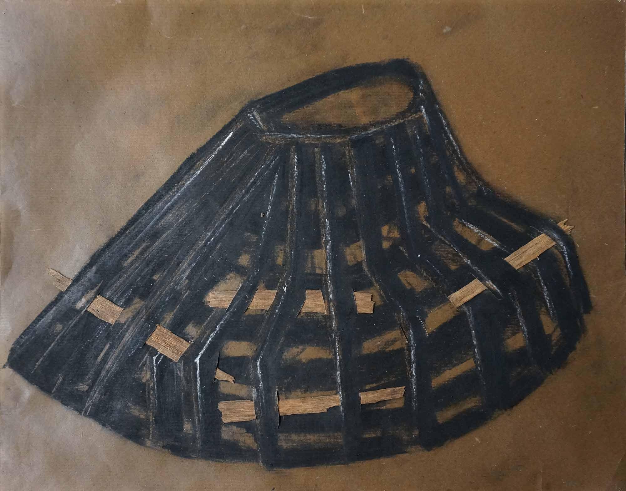 Central colline - 2014 – Pigment, gomme laque, bois, papier paraffinée. 50 x 40 cm. Denis Falgoux