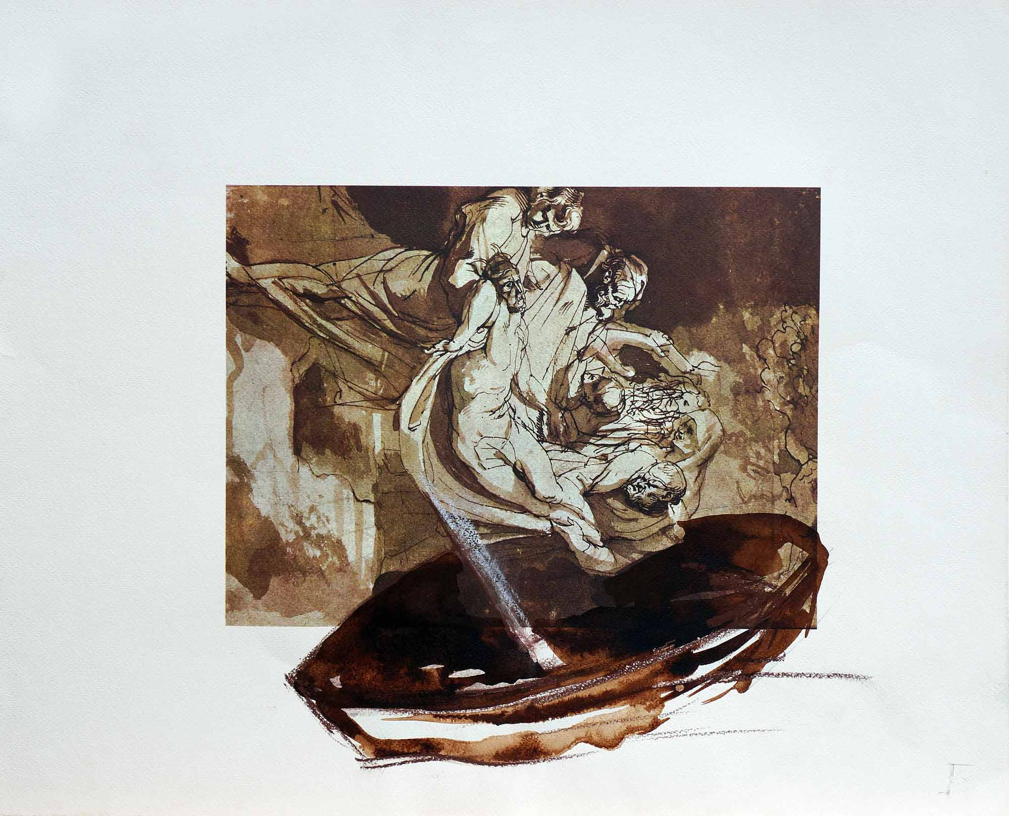 Dessin sur dessin - 2013 – Sépia. 50 x 40 cm. Denis Falgoux