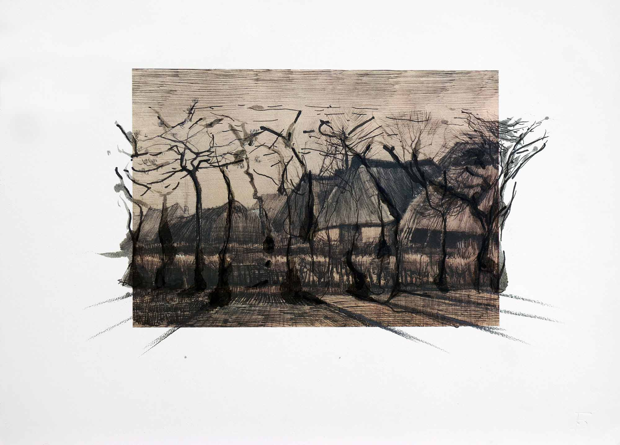 Dessin sur dessin - 2013 – Encre. 50 x 40 cm. Denis Falgoux