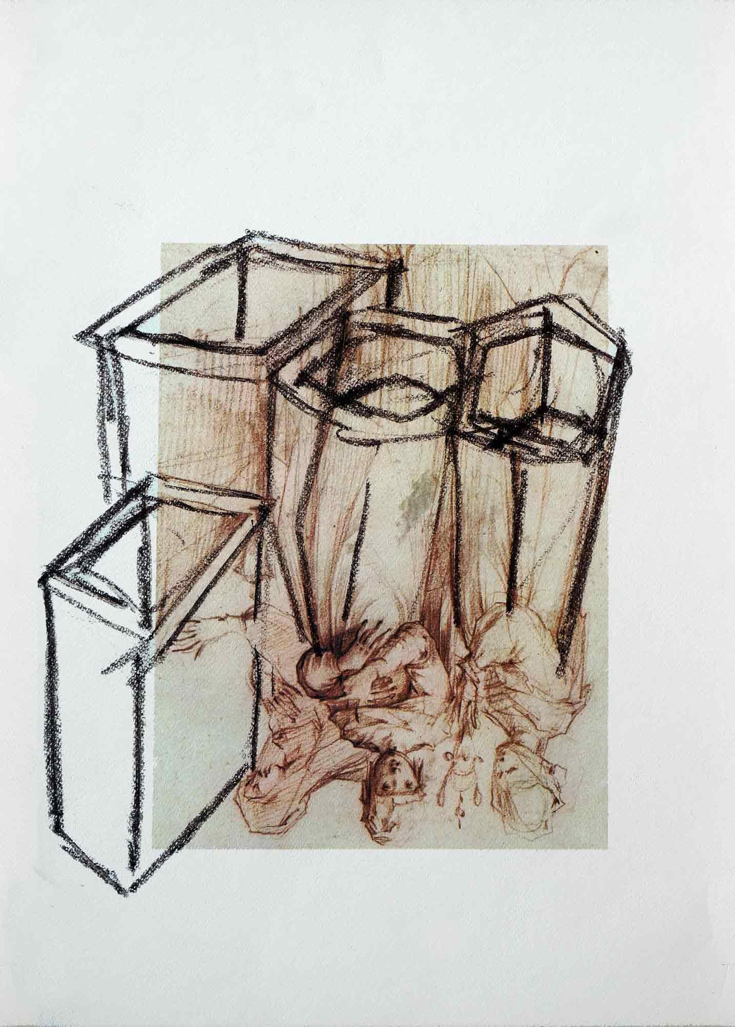 Dessin sur dessin - 2013 – Pierre noire. 50 x 40 cm. Denis Falgoux
